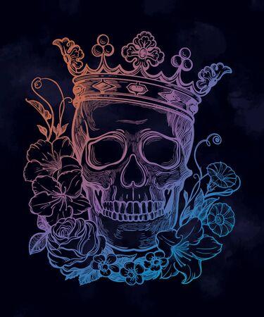 Beautiful romantic skull with crown.  イラスト・ベクター素材