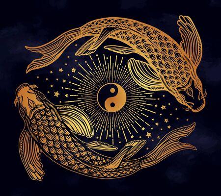Ethnic fish Koi carp with symbol of harmony