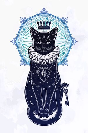 Black cat silhouette portrait in the background of the moon. Ideal Halloween background, tattoo art, boho design. Perfect for print, posters, t-shirts,textiles. Vector illustration