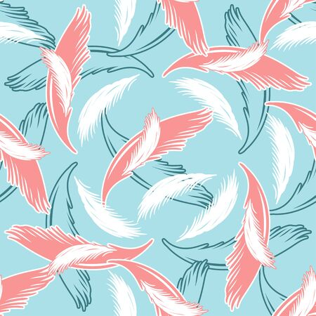 Vector seamless pattern with light feathers.  イラスト・ベクター素材