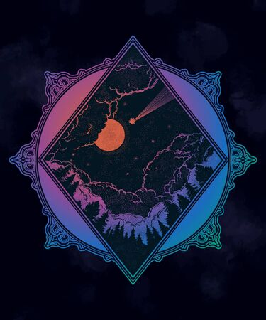 Forest and night sky in the shape of a rhombus