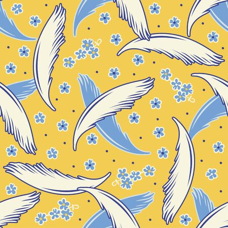 Vector seamless pattern with light feathers and flowers.