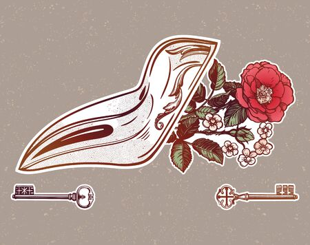 Plague doctor mask with wild rose. Vector tattoo. Medieval gothic venetian mask.  イラスト・ベクター素材