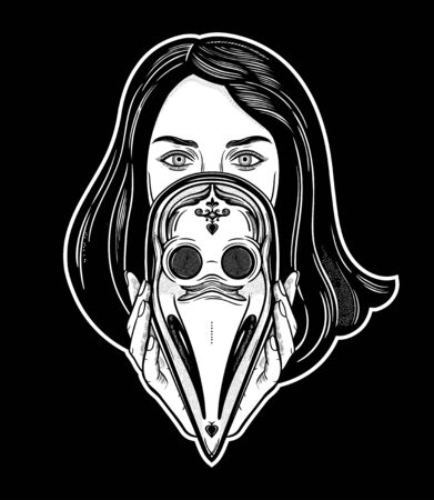 Beautiful woman holding a plague doctor mask -medieval gothic tattoo style.Symbol of unity, solidarity and support in a health crisis. Isolated vector illustration. Standard-Bild - 143957573