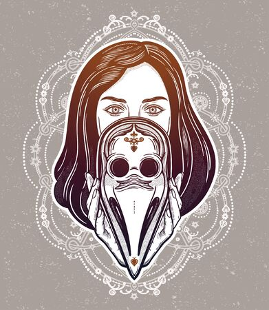 Beautiful woman holding a plague doctor mask -medieval gothic tattoo style.Symbol of unity, solidarity and support in a health crisis. Isolated vector illustration. Standard-Bild - 143957576