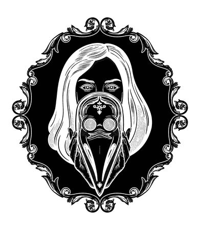 Woman holding a plague doctor mask.Medieval gothic venetian mask.Symbol of unity, solidarity and support in a health crisis. Isolated vector illustration.  イラスト・ベクター素材