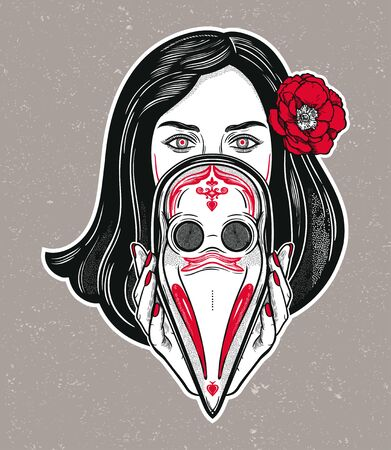 Beautiful woman holding a plague doctor mask -medieval gothic tattoo style.Symbol of unity, solidarity and support in a health crisis. Isolated vector illustration. Standard-Bild - 143957629