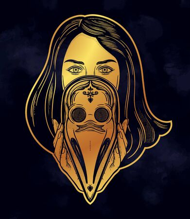 Woman holding a plague doctor mask.Medieval gothic venetian mask.Symbol of unity, solidarity and support in a health crisis. Isolated vector illustration. Standard-Bild - 143957642