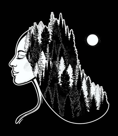 Portret of magic forest nymph, mysterious character from fairy tales. Isolated vector illustration. Dreamy magic tattoo art.