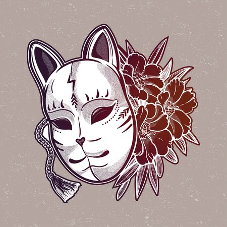 Japanese mask fox with flowers. Isolated vector art. Print on poster, card, sticker.