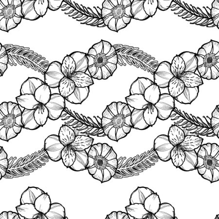 Spring flowers seamless pattern. Elegant floral blossom background, romantic decoration.