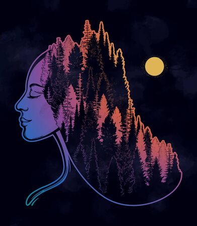 Portret of magic forest nymph, mysterious character from fairy tales. Isolated vector illustration. Dreamy magic tattoo art.  イラスト・ベクター素材