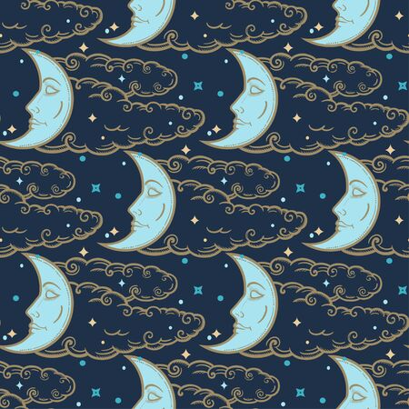 Crescent moon on a cloudy sky ornament. Ethnic decorative seamless pattern. Vintage vector wallpaper, decorative vector art.