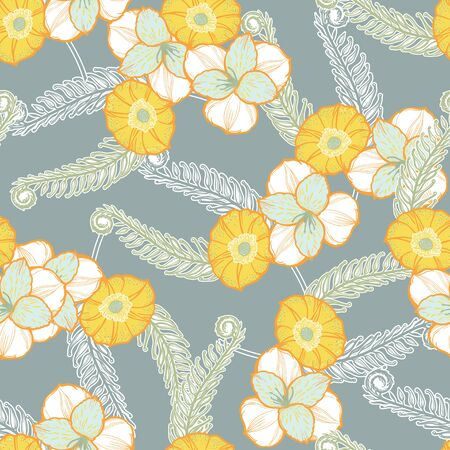 Spring flowers seamless pattern. Elegant floral blossom background, romantic decoration.