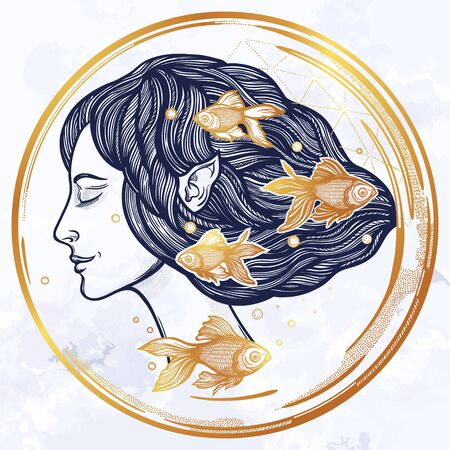 Portret of young fairy with fishes. Magic river nymph, mysterious character from mermaid tales. Isolated vector illustration.  イラスト・ベクター素材