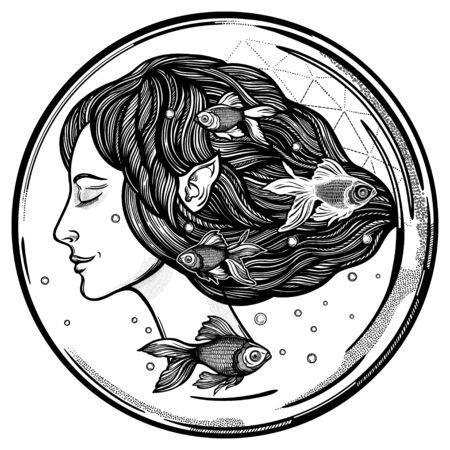 Portret of young fairy with gold fishes. Magic river nymph, mysterious character from mermaid tales. Isolated vector illustration. 写真素材 - 150429855