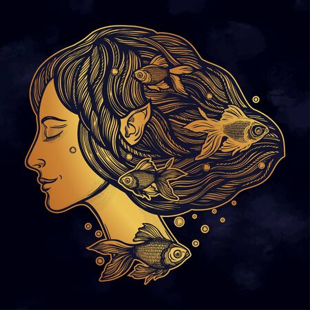 Portret of young fairy with gold fishes. Magic river nymph, mysterious character from mermaid tales. Isolated vector illustration. Stock Illustratie