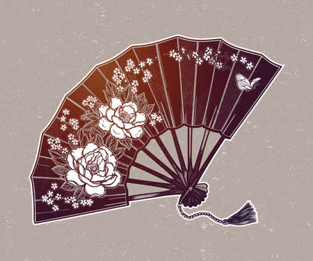 Oriental fan decorated with flowers peonies and butterflies.Vector illustration for your design, textiles, posters.