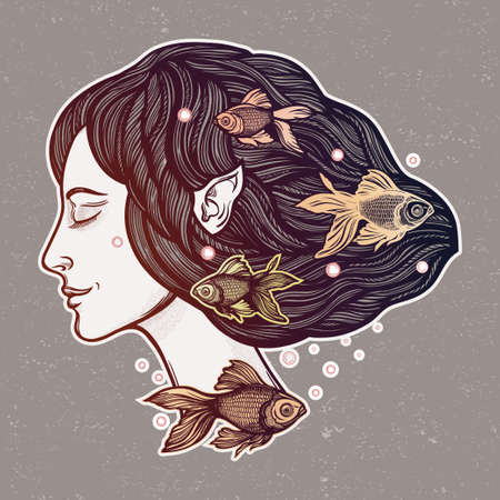 Portret of young fairy with gold fishes. Magic river nymph, mysterious character from mermaid tales. Isolated vector illustration.