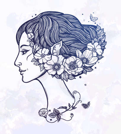 Portret of young girl nymph with flowers.