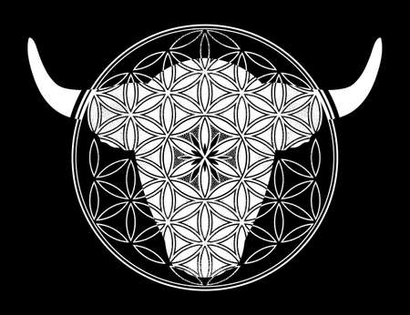 Ornamental Taurus Zodiac Star Sign.Symbol of harmony, luck in new year. Vector illustration isolated. Spiritual art for tattoo.