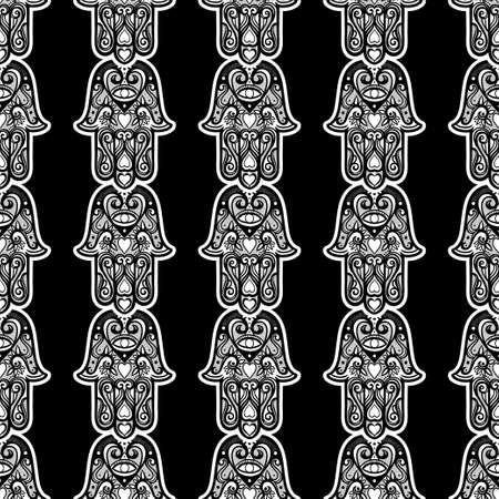 Bohemian seamless ornament with hamsa or hand of Fatima.Ornate vector wallpaper, decorative vector art.  イラスト・ベクター素材