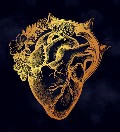 Naturalistic heart in a frame of flowers and thorns.Vintage gothic style inspired art. Vector illustration isolated. Tattoo design, trendy romance symbol for your use.  イラスト・ベクター素材