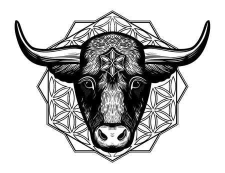 OrnateTaurus Zodiac Star Sign.Symbol of harmony, luck in new year. Vector illustration isolated. Spiritual art for tattoo.