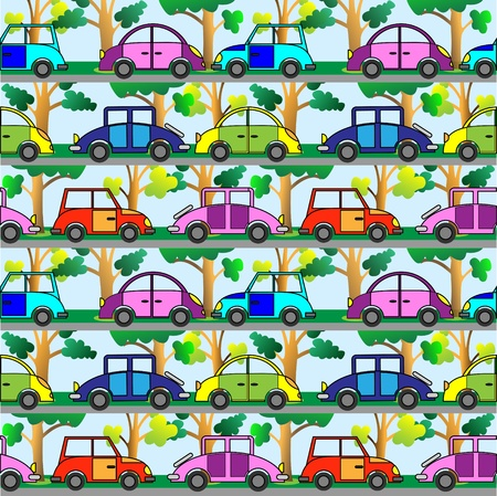 Cartoon car.Seamless vector pattern. Vector