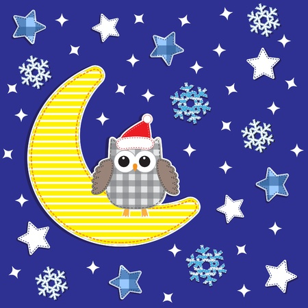 patchwork: Christmas card with cute owl.Vector textile stickers Illustration