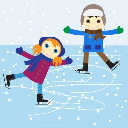 skate: Ice skating boy and girl. vector illustration.