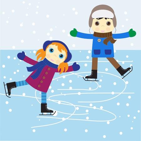 patinaje: Patinaje sobre hielo chico y una chica. ilustraci�n vectorial.