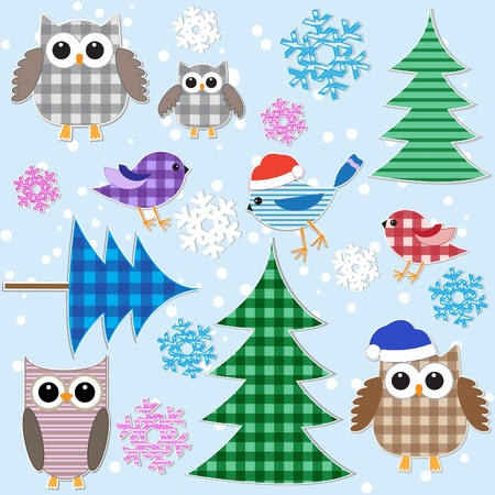 Winter textile stickers. Vector set. Vector