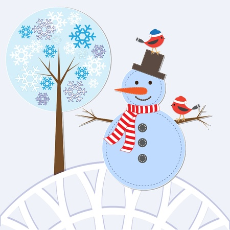 Christmas card with snowman and birds. vector illustration Vector