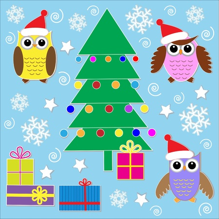 Cute Christmas stickers.Vector set Vector