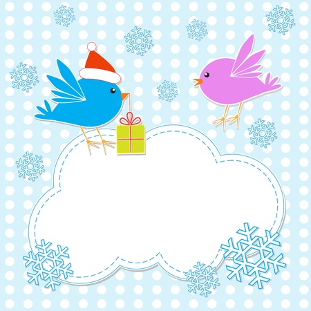 Vector christmas greeting card with birds couple Vector