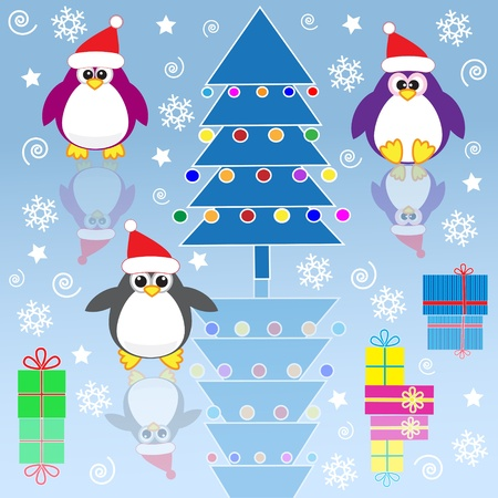 Xmas penguins. Vector illustration Vector