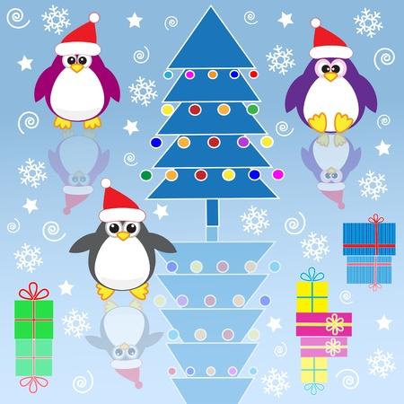 Xmas penguins. Vector illustration Stock Vector - 11385969