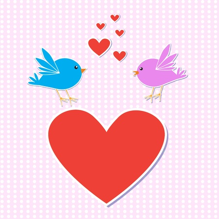 Template romantic card.Birds in love.vector illustration eps10 Vector