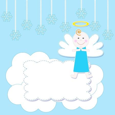 angeles bebe: Marco con un lindo ejemplo de la Navidad del bebé angel.Vector Vectores