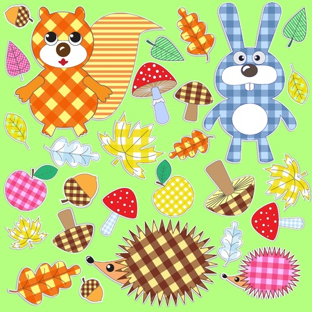 Set of textile stickers.Autumn in the woods.Vector. Vector