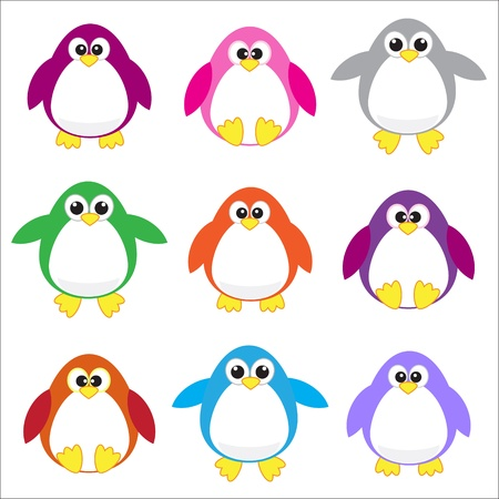 orange cartoon: Color penguins clip art