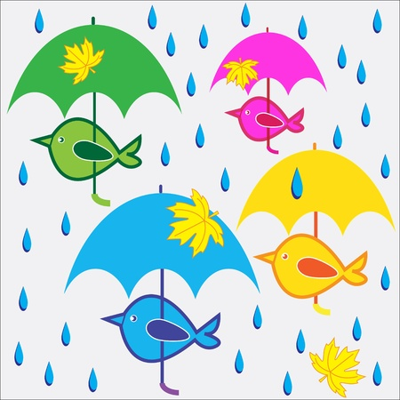 Colored birds under umbrellas. Vector illustration. Illustration