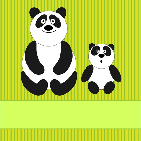 Greeting card with cute family of  pandas. Vector illustration. Vector