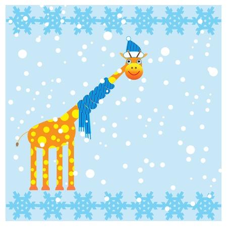 Winter card with cute giraffe.Vector illustration. Illustration