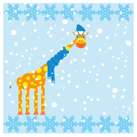 Winter card with cute giraffe.Vector illustration. Vector