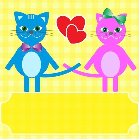 Love cats. Greeting vector card. Illustration