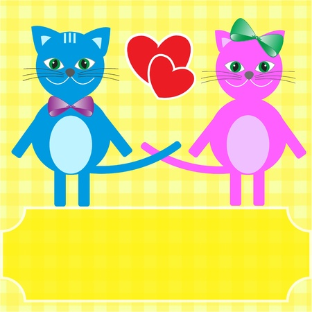 Love cats. Greeting vector card. Vector