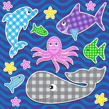 Set of cute colorful  marine animals.Vector stickers. Vector