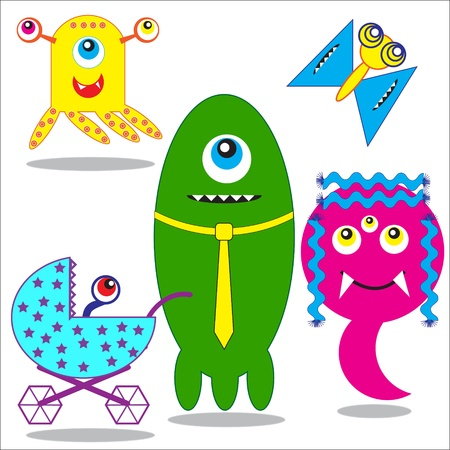 Cute funny  Monsters Family.Vector illustration Vector